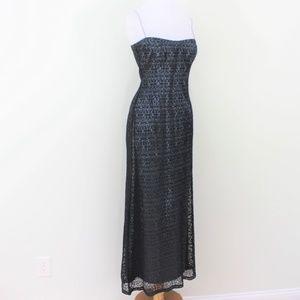 Elie Tahari Black Blue Lace Maxi Dress Straps 8 M